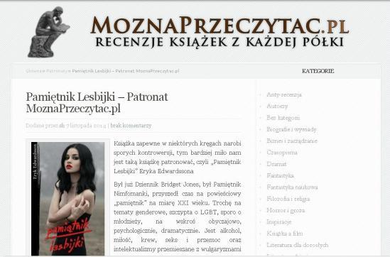 Moznaprzeczytac.pl - PATRONAT nad Pamiętnikiem Lesbijki E. Edwardssona