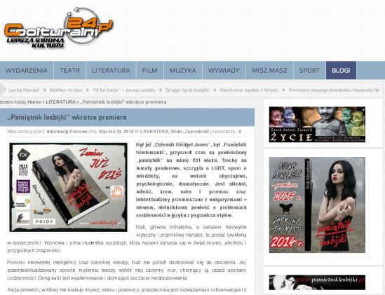Zapowiedź Pamiętnika Lesbijki Eryka Edwardssona na portalu Coolturalni24.pl